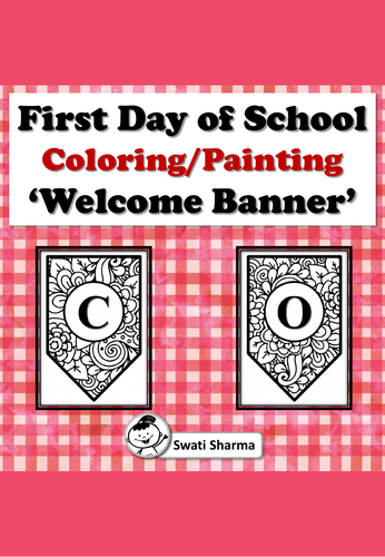 First Day of School Coloring/Painting 'Welcome Banner'