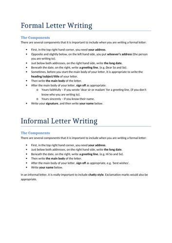 GCSE English Language Formal & Informal Letter Writing Handout
