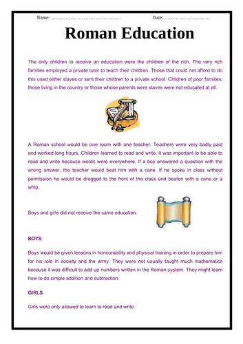The Romans - Roman Education & Quiz