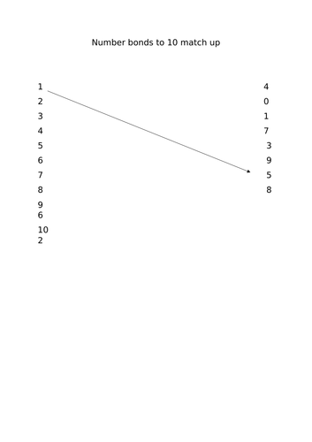 numberbonds to 10 match up activity