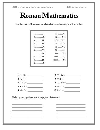 The Romans - Roman Numerals / Mathematics