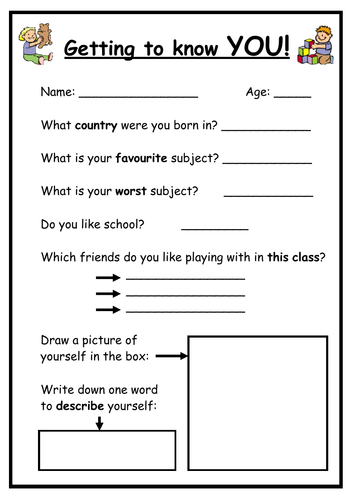 Getting to know your New Class - Worksheet