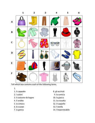 Vestiti (Clothing in Italian) Find it Worksheet