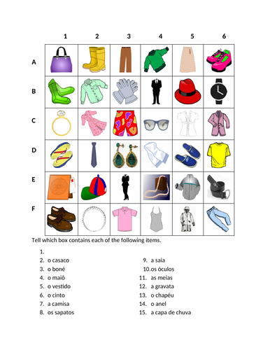 Roupa (Clothing in Portuguese) Find it Worksheet