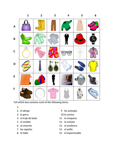 Ropa (Clothing in Spanish) Find it Worksheet