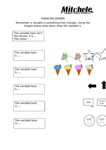 Primary school KS2 - computational thinking and the introduction to variables