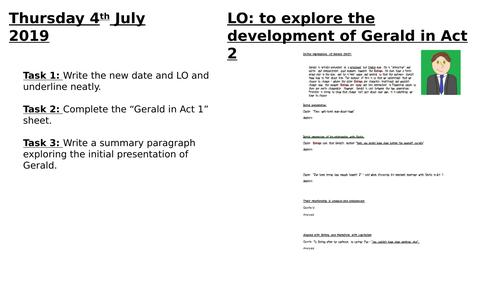 Development of Gerald in Act 2 An Inspector Calls AQA 2019
