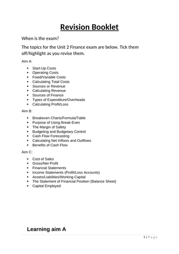 Business BTEC Level 2 Unit 2 Finance for Business Revision Workbook