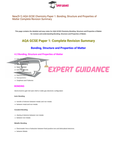 New (9-1) AQA GCSE Chemistry C2 Bonding, Structure, and The Properties of Matter Complete Revision