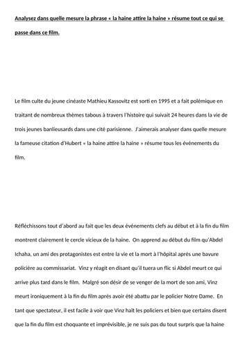 A-LEVEL FRENCH La Haine Paper 2 2019  Model Essay « la haine attire la haine » résume tout?