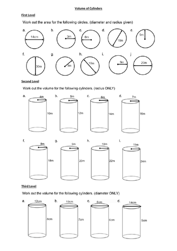 VOLUME of cylinders- GEOMETRY - WITH ANSWERS