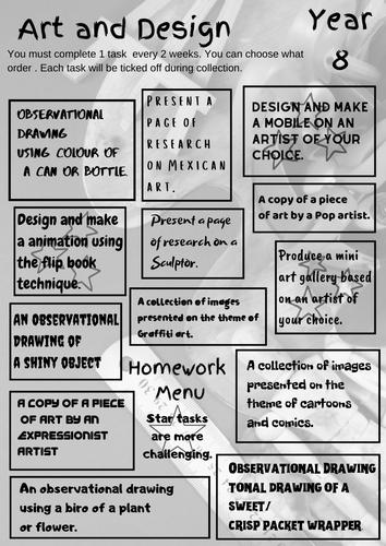 Homework menus for year 8 and 9.
