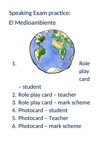 Medioambiente The Environment GCSE Spanish 9-1 speaking practice booklet