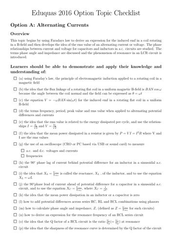 Eduquas A-level Physics Options revision ticklist