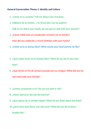 GCSE Spanish speaking exam general conversation questions with English