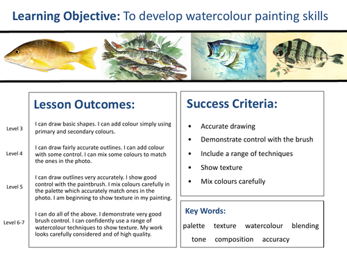 KS3 Art Project - Watercolour Fish