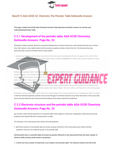 New (9-1) AQA GCSE Chemistry C3 Periodic Table Complete Revision Summary