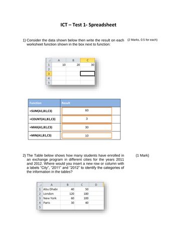 Microsoft Excel assessment and worksheet with answers sheet included for year 7/8/9/10/11/12