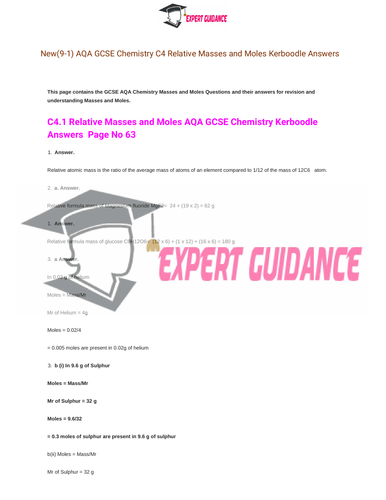 New (9-1) AQA GCSE Chemistry C4 Quantitative Chemistry Complete Revision Summary