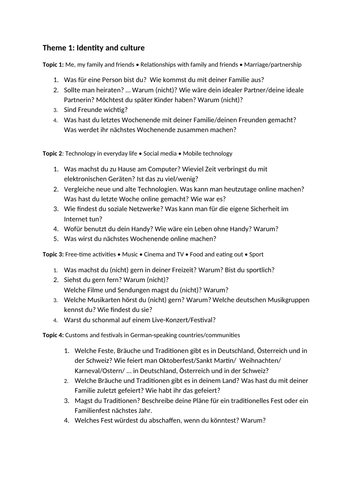 GCSE German questionnaire  for level 9