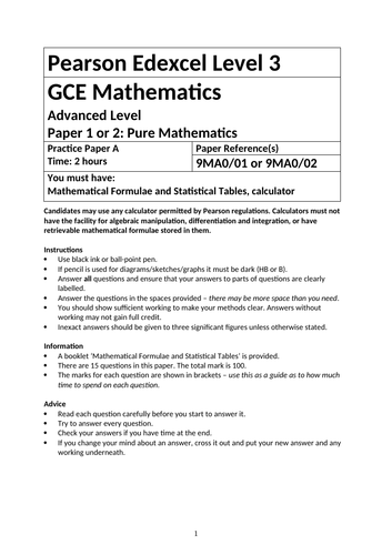 Edexcel A level Maths Past Paper Questions and Markschemes for NEW 2019 SPEC