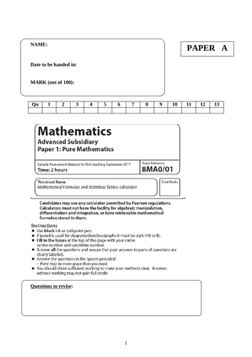 Edexcel AS Maths 2019 Pure and Applied Past Papers and Mark Schemes for NEW SPEC 2019