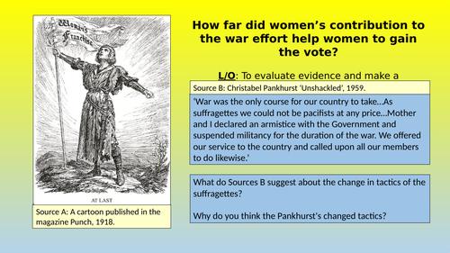 Suffragettes & the War effort 1914-1918
