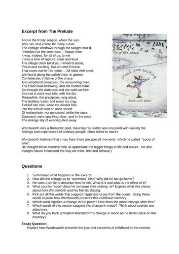 The Romantics - four poems with associated tasks for KS3