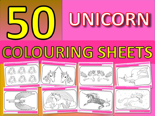 50 x Unicorn Colouring Sheets Keyword Starter Settler Cooking End of Term Fun Activity