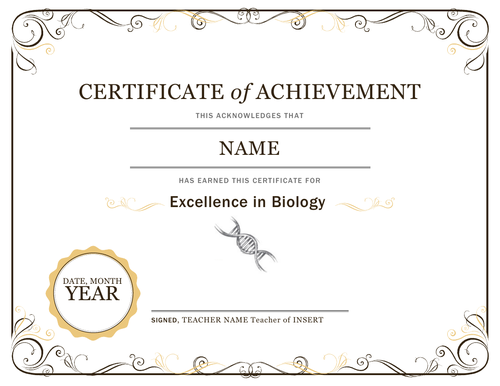 Certificate of Achievement and Effort for Biology