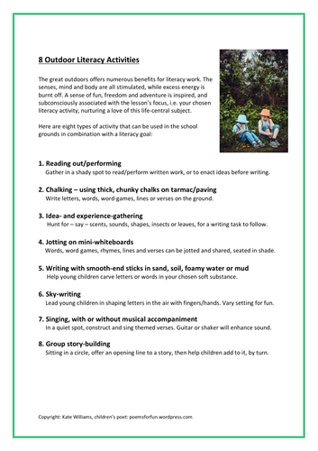 8 Outdoor Literacy Activities
