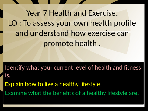 Exercise and health profile