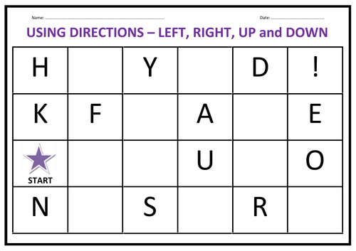 Directions Activity - Left, Right, Up, Down