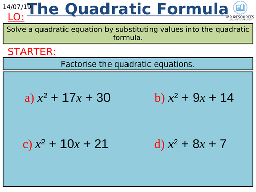 GCSE Quadratic Formula 9-1