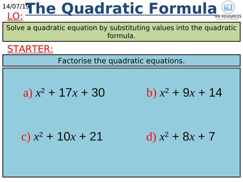 GCSE Quadratic Formula 9-1