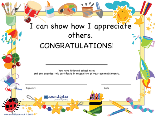 A is for Appreciation - whole school assembly