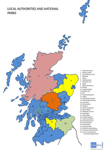 Editable map of Scotland Local Authorities and National Parks