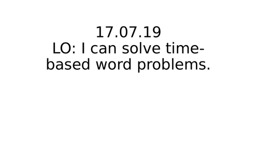 Time based word problems for Year1/2