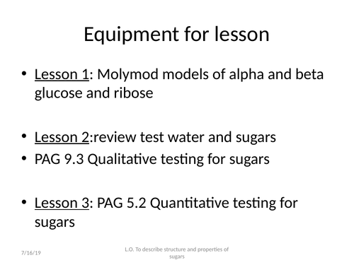 Lessons on carbohydrates mono-, di- and polysaccharides incl PAGS