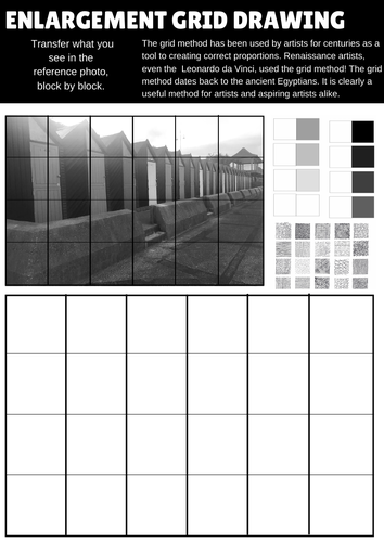 10 High quality art and design worksheets for enlarging using the grid method.