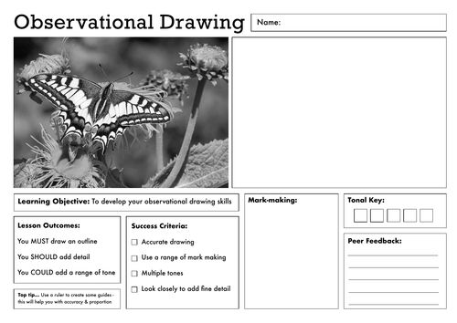 Art Lesson Worksheet - Set of 5 - KS3/ KS4