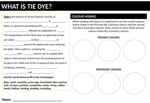 Cover work - Textiles Tie Dye