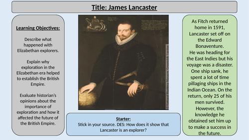 7.  James Lancaster -OCR GCE J411 9-1 The Elizabethans 1580-1603 Section 5