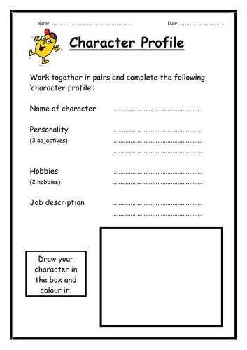 Mr Men - character profile worksheets