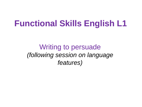 Functional Skills English - Level 1 - New Reforms