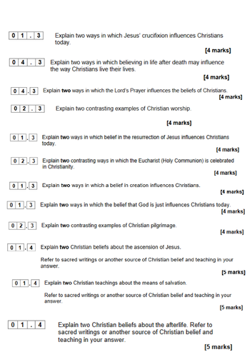 GCSE AQA RS Christianity + Islam Paper 1 Practice Questions