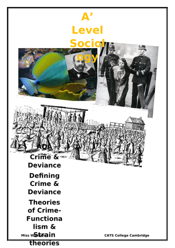 A Level Sociology Crime and deviance booklet Functionalism