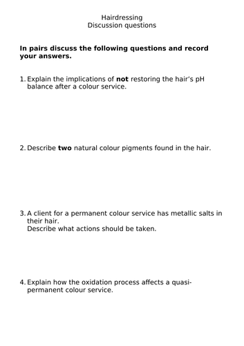 Hairdressing theory discussion questions