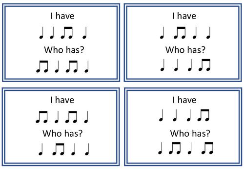 Crotchet and Quaver IHWH Rhythm Cards