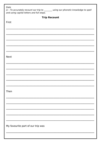 Differentiated Trip Recount Template, Literacy, Writing